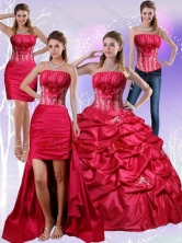 2015 Strapless Red Quinceanera Dress with Appliques and Pick Ups QDZY466TZA2FOR