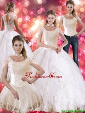 2015 Summer Perfect Laceed and Beaded Quinceanera Dress with Cap Sleeves SJQDDT45001FOR