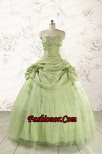 2015 Sweetheart Beading Quinceanera Dress in Yellow Green FNAO193FOR