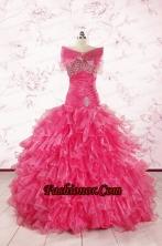 2015 Sweetheart Sequins Ruffles Unique Hot Pink Quinceanera Dresses  FNAO305AFOR