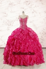 2015 Unique Beading Hot Pink Quinceanera Dresses with Spaghetti Straps FNAO343FOR