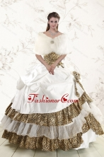 2015 Unique Strapless Leopard Quinceanera Dresses with Hand Made Flower XFNAO437CFOR