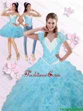2015 Winter New Arrival Beaded and Ruffles Quinceanera Dresses in Blue SJQDDT90001FOR