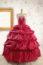 Appliques 2015 Hot Pink Quinceanera Dresses with Lace Up FNAO5824-1FOR