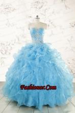 Aqua Blue Ball Gown Sweetheart Beading Sweet 16 Dresses FNAOA45FOR