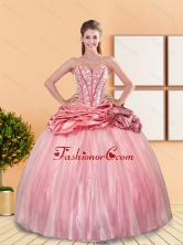 Beautiful 2015 Beading and Pick Ups Sweetheart Quinceanera Dresses in Rose Pink QDDTA10002-1FOR