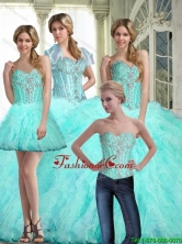 Beautiful 2015 Fall Ball Gown Sweetheart Quinceanera Dresses with Ruffles and Beading SJQDDT63001FOR