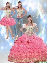 Beautiful 2015 Summer Beaded Quinceanera Dresses with Appliques and Pick Ups SJQDDT40001FOR
