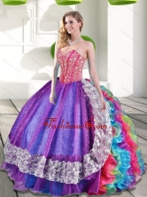 Beautiful Sweetheart Beading and Ruffles 2015 Quinceanera Dresses in Multi Color QDDTA63002-1FOR