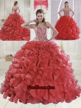 Beautiful Sweetheart Coral Red Quinceanera Dresses with Brush Train XLFY091906B-14FOR