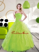 Beautiful Sweetheart Spring Green 2015 Quinceanera Dresses with Beading and Ruffles QDDTD12002FOR