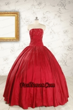 Cheap Red Strapless Sweet 16 Dresses with Beading FNAO597FOR