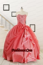 Cheap Strapless Ball Gown Quinceanera Dresses in Watermelon for 2015 FNAO5752FOR