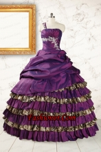 Classic One Shoulder Quinceanera Dresses with Beading and Leopard FNAO392FOR