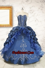 Classical Sweetheart Navy Blue Quinceanera Dresses with Beading FNAOA62FOR