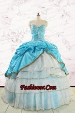 Custom Made Sweetheart Aqua Blue Quinceanea Dresses with Beading FNAO758FOR