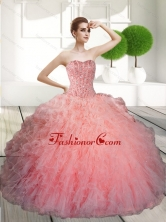 Decent Ball Gown Beading and Ruffles Quinceanera Dresses for 2015 QDDTD3002FOR