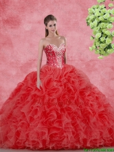 Discount Beaded Red Quinceanera Gowns for 2016 Spring SJQDDT106002-1FOR