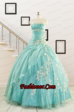 Discount Blue Quinceanera Dresses with Appliques for 2015 FNAO685FOR