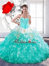 Discount Sweetheart Ball Gown Sweet 15 Dresses with Beading and Ruffles QDDTA18002FOR