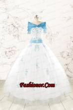 Discount White Quinceanera Dresses with Appliques for 2015 FNAO107AFOR