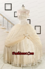 Elegant Appliques 2015 Champagne Quinceanera Dress with Wraps FNAO121AFOR