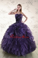 Elegant Sweetheart Appliques Purple Quinceanera Dress for 2015 XFNAO5809FOR