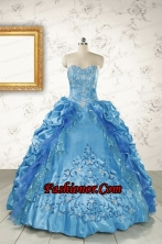 Elegant Sweetheart Embroidery Sweet 16 Dress in Blue FNAOA36FOR