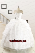 Exquisite Appliques White Brush Train Quinceanera Dresses for 2015 FNAO5851FOR