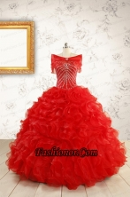 Exquisite Beading and Ruffles Red Quinceanera Gowns with Wrap for 2015 FNAO092AFOR