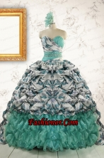 Exquisite Turquoise Sweep Train Quinceanera Dresses with Beading For 2015  FNAO789FOR