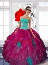 Fashionable Sweetheart Appliques and Ruffles Sweet Sixteen Dresses in Multi Color QDDTB4002FOR
