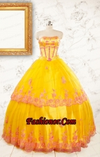 Gold Strapless Beautiful Quinceanera Dresses with Appliques FNAO431FOR