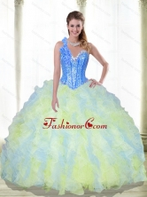Gorgeous Beading and Ruffles Sweetheart Multi Color Quinceanera Dresses for 2015 SJQDDT21002-1FOR