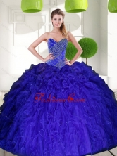 Gorgeous Peacock Blue Sweetheart Beading Ball Gown 2015 Quinceanera Dress with Ruffles QDDTC48002FOR