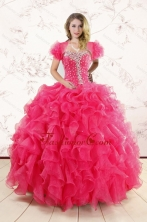 Hot Pink Ruffles and Beaded Wonderful Quinceanera Dresses for 2015 XFNAO885AFOR