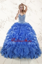 Hot Sale Beaded Royal Blue Sweet 15 Dresses with Sweep Train XFNAO5961FOR