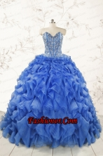 Hot Sale Beading Royal Blue Sweet 15 Dresses with Sweep Train FNAO5961FOR