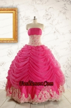 Luxurious Lace Appliques 2015 Quinceanera Gowns in Hot Pink FNAO501FOR