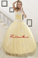 Luxurious Light Yellow Sweet 16 Dresses with White Appliques XFNAO5937FOR