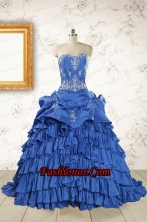 Modern Brush Train Appliques Sweet 15 Dresses in Royal Blue FNAO6050FOR