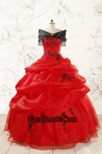 Most Popular Appliques Red Quinceanera Dresses for 2015 FNAO508AFOR