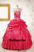 Most Popular Coral Red Sweet 16 Dresses with Appliques FNAO154FOR