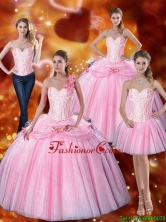 New Arrival 2015 Summer Sweetheart Bowknot Quinceanera Dresses with Beading in Pink SJQDDT75001FOR