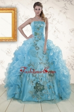 New Style Embroidery 2015 Quinceanera Dresses in Baby Blue XFNAO295FOR