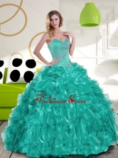 New Style Sweetheart Beading and Ruffles Quinceanera Dress for 2015 QDDTC24002-1FOR