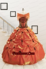 Orange Red and Black Sweetheart Appliques Quinceanera Dresses with Wraps FNAO035AFOR