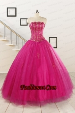Perfect Fuchsia Quinceanera Dresses with Beading and Appliques for 2015 FNAO140FOR
