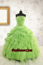 Perfect Green Quinceanera Dresses with Beading and Ruffles FNAO882FOR