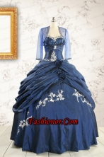Perfect Sweetheart Navy Blue Quinceanera Dresses with Wraps FNAO693AFOR